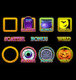 halloween slots icons in frame wild bonus and vector image