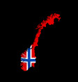hanging norway flag in form map kingdom vector image vector image