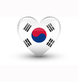 Heart-shaped icon with flag of South Korea vector image