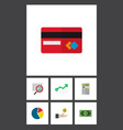 icon flat finance set of arrow credit card vector image vector image
