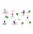 leisure outdoor activities concept active people vector image