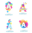 Letter A colored logo set vector image