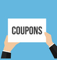 man showing paper coupons text vector image