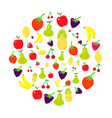 multicolored fruits in the style of flat are vector image