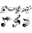 Music notes on staves vector image vector image
