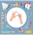 nail art and instruments set vector image vector image