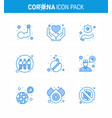 novel coronavirus 2019-ncov 9 blue icon pack vector image vector image