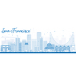 Outline San Francisco Skyline with Blue Buildings vector image vector image