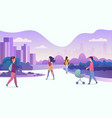 people life in modern eco city walking people in vector image