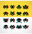 pixel little retro monsters with screen distortion vector image vector image