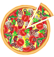 pizza and cut piece isolated on white background vector image vector image