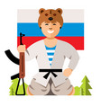 Russian soldier humor concept flat style vector image