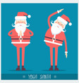 santa claus doing yoga christmas card vector image vector image