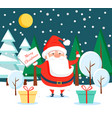 santa claus standing in winter forest at night vector image vector image