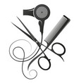 scissors and comb stylist hair dryer symbol vector image vector image
