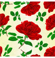 seamless texture red rose stem with leaves vector image vector image