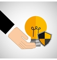 Security concept hand with bulb vector image