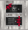 set of shiny gift voucher with realistic red bow vector image vector image