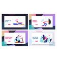 set sporty website landing page and web page vector image vector image