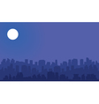 Silhouette of big city with moon vector image