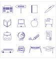 simple blue outline school icons set eps10 vector image vector image