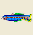 strange monster fish blue with yellow tail vector image vector image