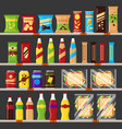 supermarket store shelves with groceries products vector image vector image