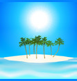 tropical island and palm trees background vector image vector image