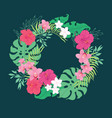 tropical orchid hibiscus flowers wreath vector image