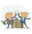 two businessmen celebrate deal vector image vector image