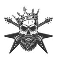 vintage rock star skull in crown vector image vector image