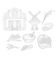 Wheat Farm Isolated Hand Drawn Realistic Sketches vector image vector image