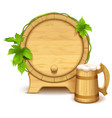 wooden barrel and full wooden beer mug with thick vector image