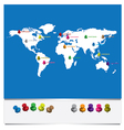 world map with pins vector image vector image