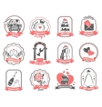 Wedding marriage engagement emblems outline set vector image