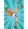 Football soccer player kick the ball vector image