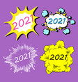 2021 cartoon explosion boom storyboard new year vector image