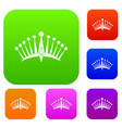 big crown set color collection vector image vector image