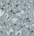 black white leaves floral background vector image