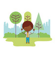 boy in the park city vector image