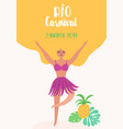 brazil carnival banner with dancing woman rio vector image