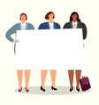 business women with banner vector image vector image