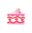 cake piece cartoon pink vector image vector image