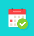 calendar with checkmark or tick icon flat vector image