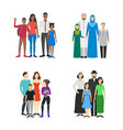 cartoon characters different nationals families vector image