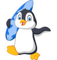 cartoon penguin holding a surfboard vector image vector image