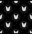 cat face with moon on night sky seamless pattern vector image