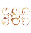 coffee and tea stains left cup bottoms set vector image