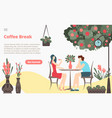 coffee break with girl and boy couple sitting in vector image
