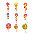 collection beautiful girls wearing bright vector image vector image
